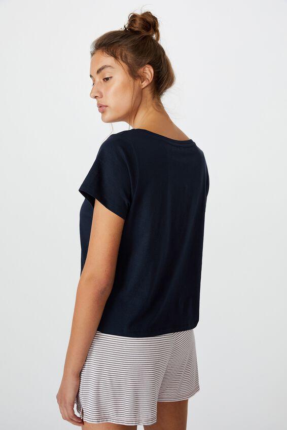 Jersey Bed T-Shirt, DRAWN HEART/NAVY