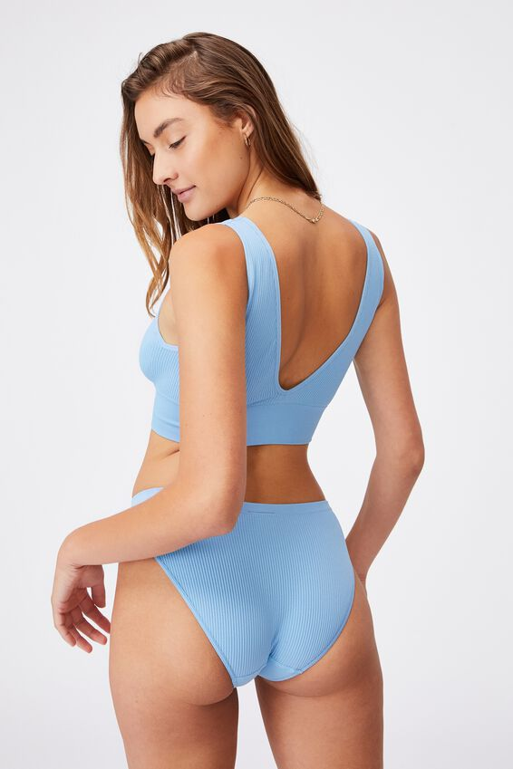 Seamfree Reversible Crop, GLACIER BLUE