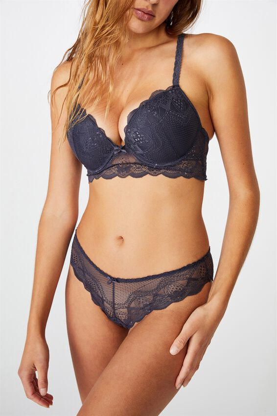 Cindy Body Push Up 2 Bra, GREYSTONE BLUE