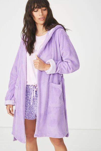 Luxe Plush Robe, LAVENDER MINI TEXTURED