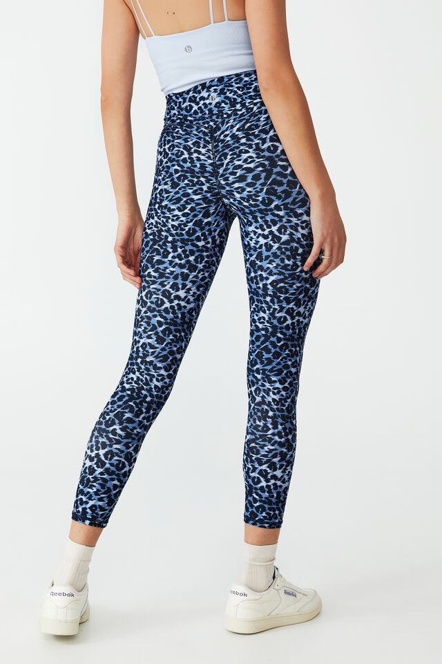 Contouring Scrunch Booty 7/8 Tight, TEXTURED LEOPARD BLUES