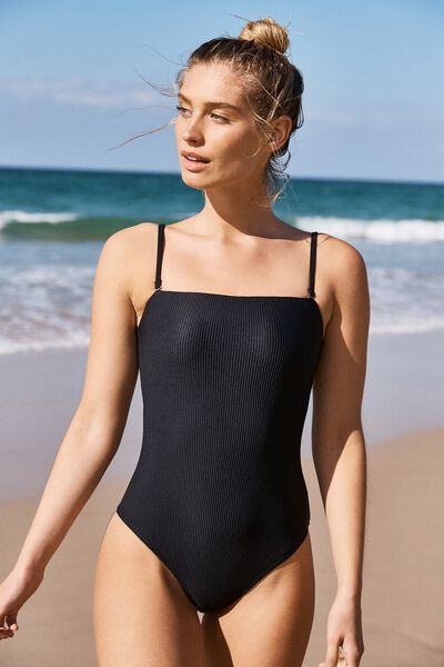 Strapless One Piece Cheeky, BLACK RIB