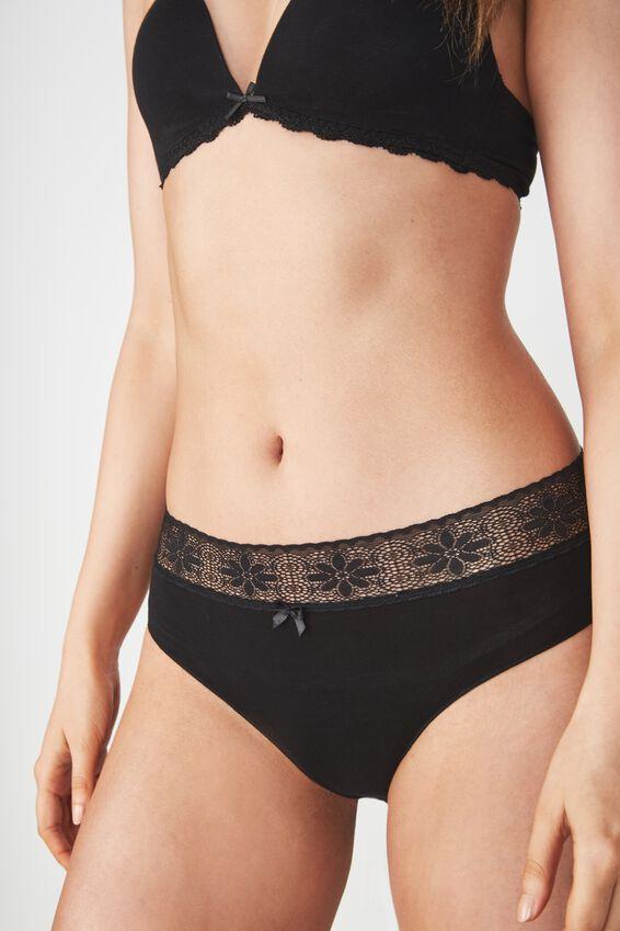 High Waist Super Soft Bikini Brief, BLACK