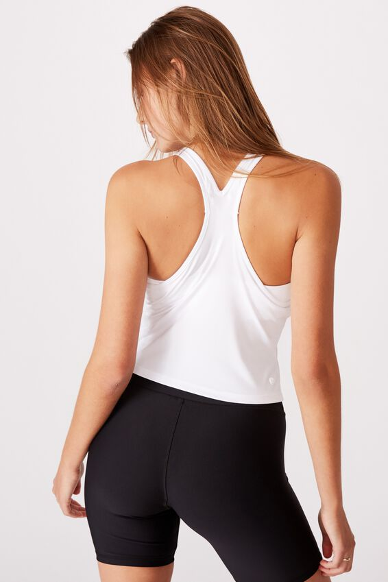 Chalky Racer Crop Tank, WHITE