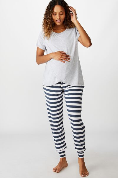 Sleep Recovery Maternity Pant, THICK STRIPE/IRON