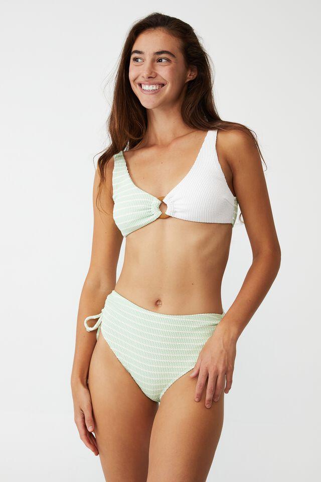 Highwaisted Tie Side Cheeky Bikini Bottom, MINT CHIP STRIPE CRINKLE