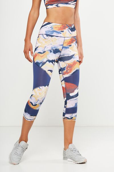 Panelled And Spliced Cropped Tight, WARPED CAMO WARM