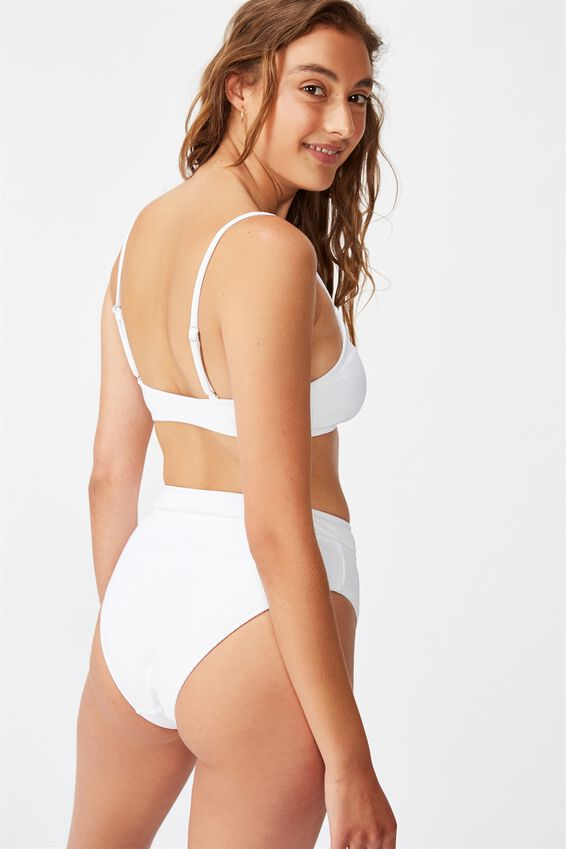 Scoop Crop Bralette Bikini Top, WHITE RIB 20