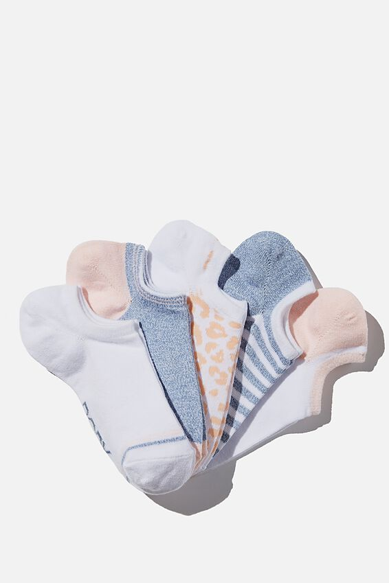 5Pk Body Low Cut Socks, BLUE JAY COLOUR BLOCK