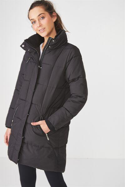 Long Puffer Jacket, BLACK