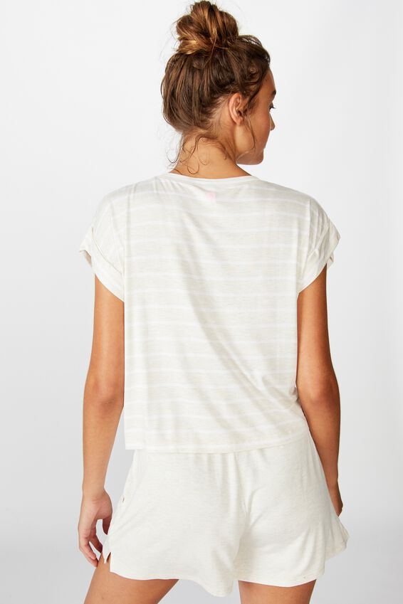 Sleep Recovery Hip Grazer T-Shirt, PORRIDGE STRIPE