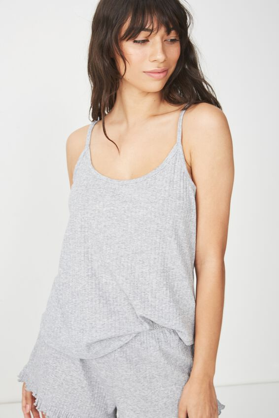 Rib Sleep Tank Top, LIGHT GREY MARLE