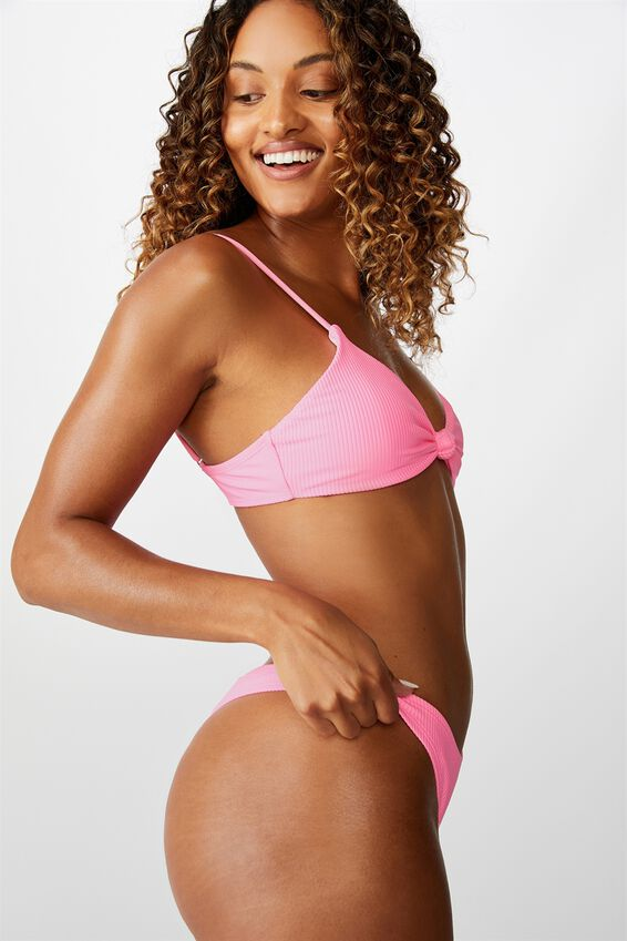 High Side Brazilian Bikini Bottom, PINK POP RIB/CURVE