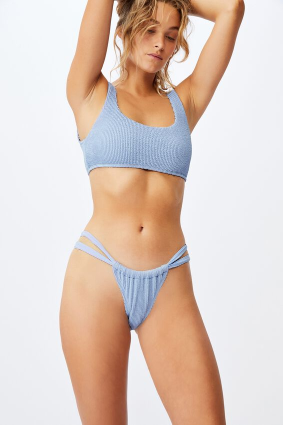 Gathered Strap Brazilian Bikini Bottom Crinkle, PALE BLUE CRINKLE