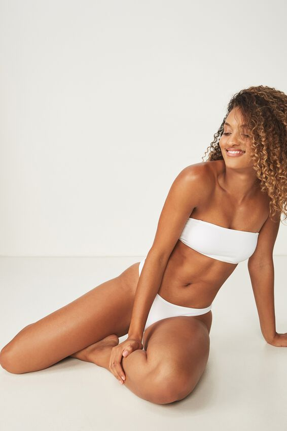 Summer Bandeau Bikini Top, WHITE