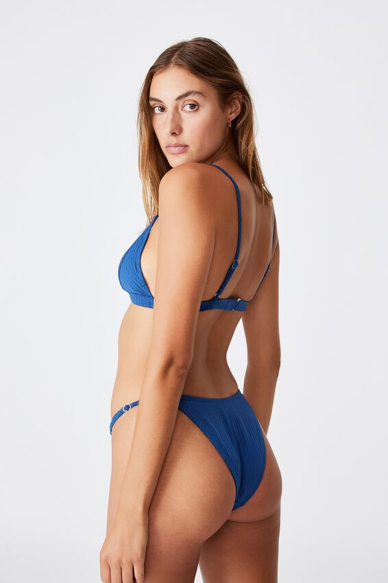 Fixed Triangle Bikini Top Rib, MARINA BLUE RIB