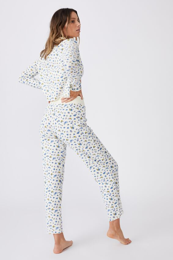 Knit Pointelle Sleep Pant, BUTTERFLY DITZY/ICEY CUSTARD