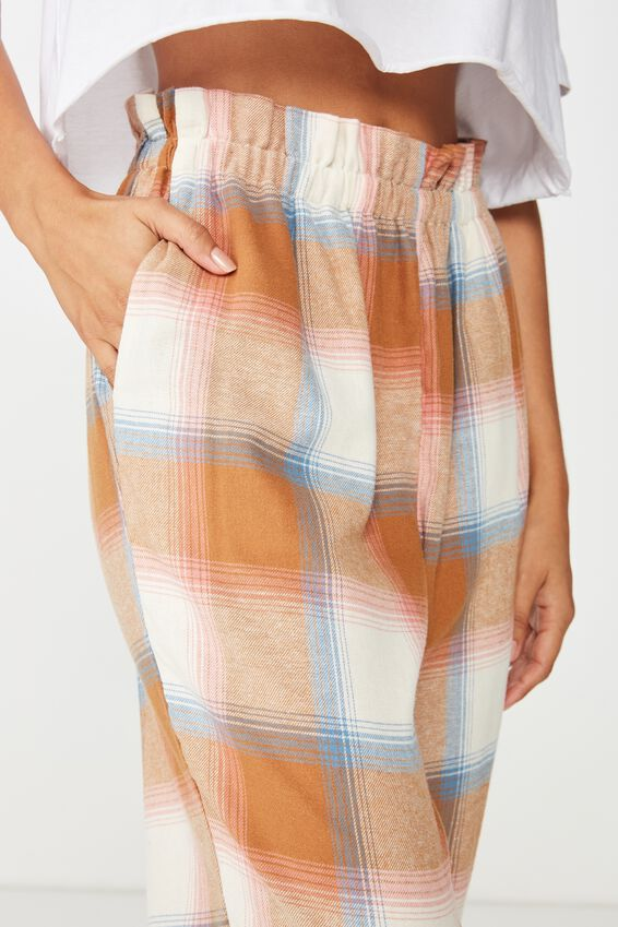 Flannel Paper Bag Pant, MACAROON CHECK