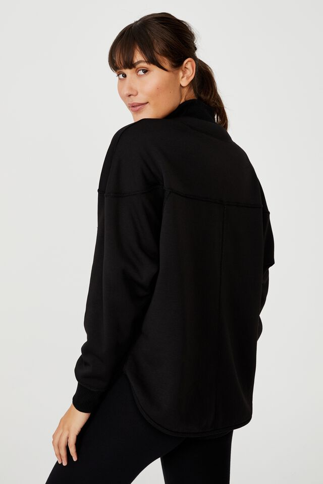 Reversible Sherpa Long Sleeve Top, BLACK
