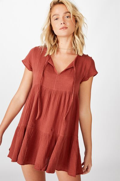 Babydoll Beach Dress, RUST