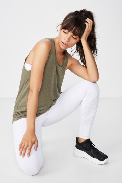Twist Back Two In One Tank Top, OLIVE BRANCH/WHITE