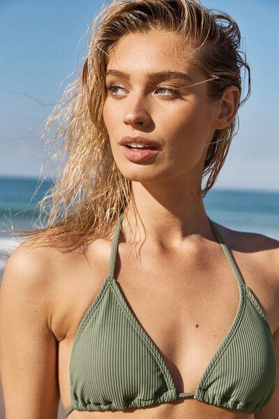Classic Slider Triangle Bikini Top, COOL AVOCADO RIB