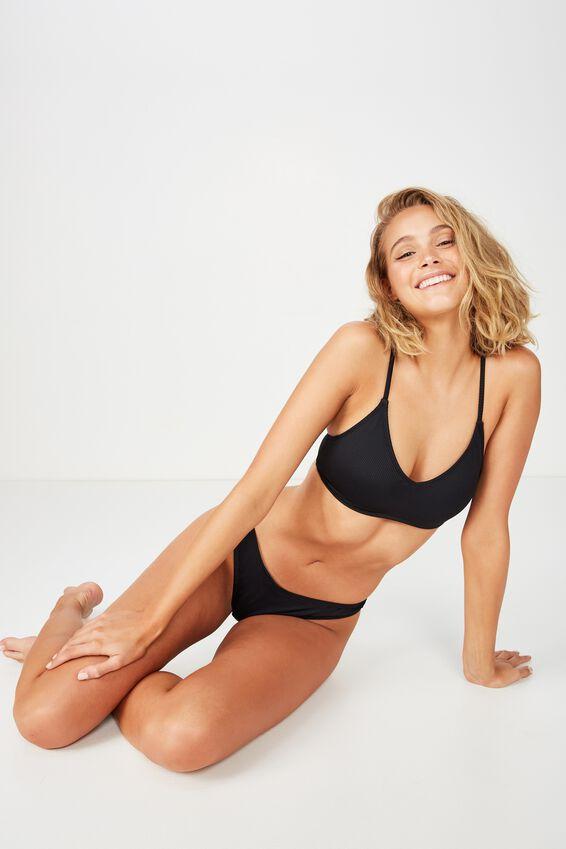 Lucie Rib V Neck Bralette Bikini Top, BLACK