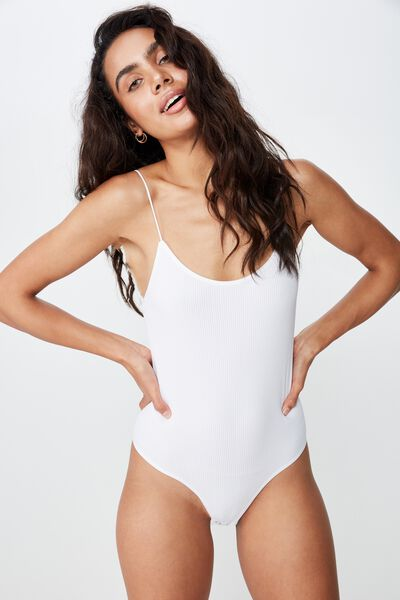 Seamfree Scoop Bodysuit, WHITE