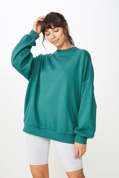 Slouchy Active Crew Top, JOLLY GREEN
