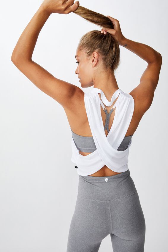 Cross Back Rib Tank Top, WHITE RIB