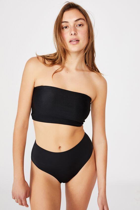Longline Bandeau Bikini Top, BLACK RIB