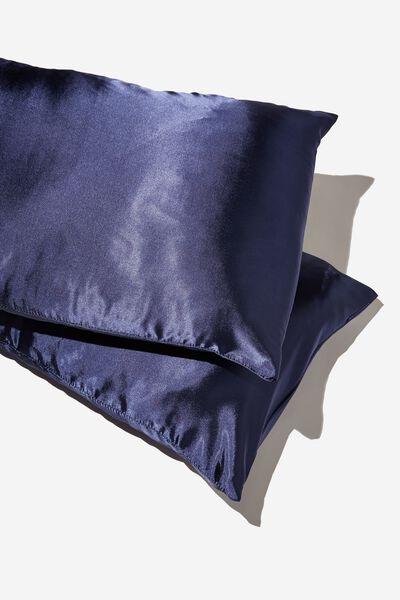 Satin Pillow Slip Duo, TRUE NAVY