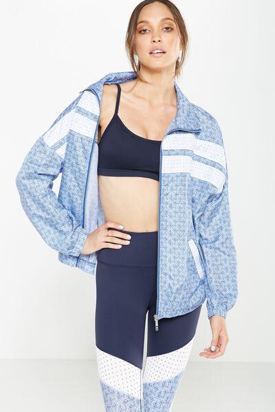 Laser Spliced Jacket, BLUES TILE/WHITE