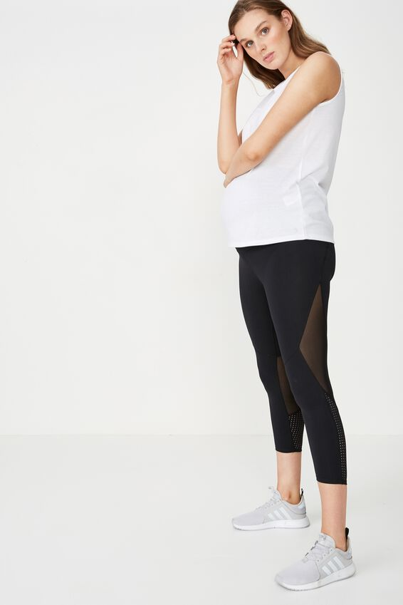 Maternity Movement Mesh Panelled 7/8 Tight, BLACK