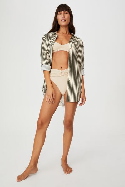 Oversized Beach Shirt, WARM KHAKI/SANCASTLE STRIPE