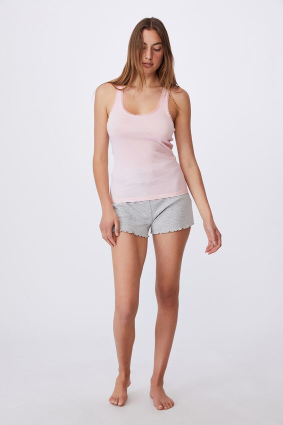 Lace Racer Back Tank, CRYSTAL PINK