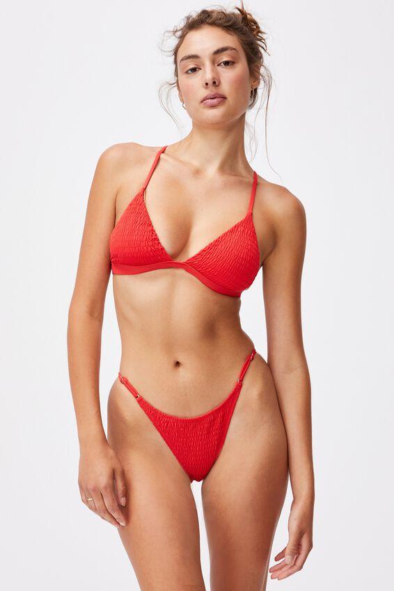 Fixed Triangle Bikini Top, RED SHIRRED