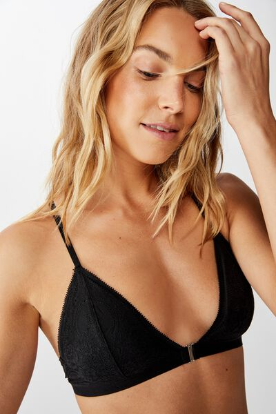 Ava Wirefree Front Closure Bralette, BLACK