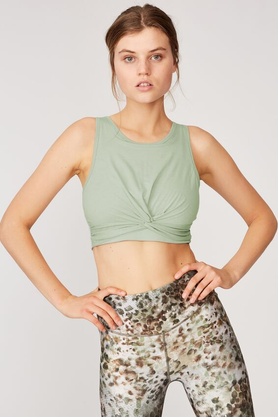 Twist Front Crop Tank, WASHED ALOE