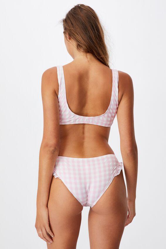 Tie Front Crop Bikini Top Gingham, PALE PINK GINGHAM