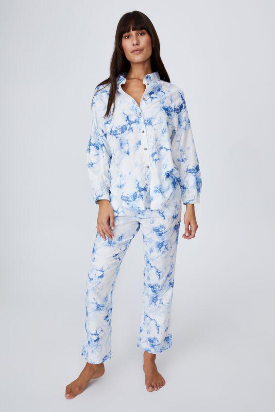 Warm Flannel Sleep Pant, BLUE JAY TIE DYE