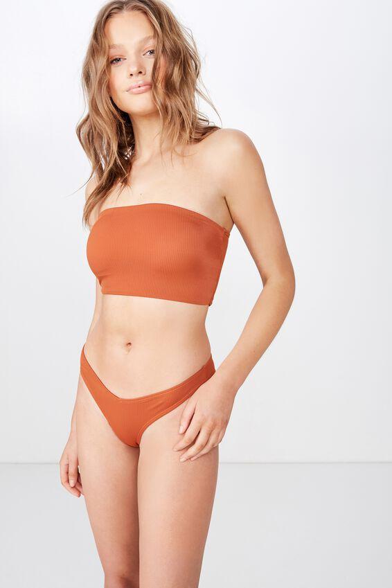 Longline Bandeau Bikini Top, POTTERS CLAY RIB