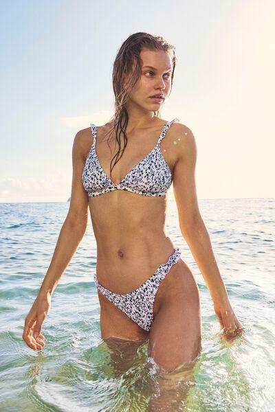 Tanga Cheeky Bikini Bottom, GARDEN DITSY BLUES SHIRRED