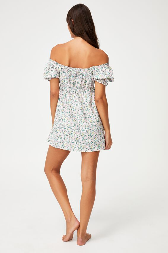 Puff Sleeve Beach Dress, GARDEN DITSY