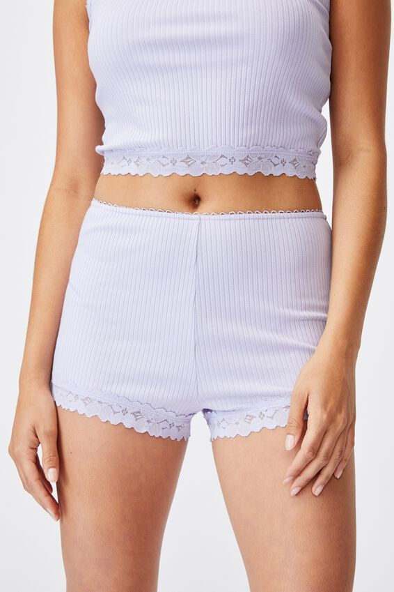 Rib Lace Sleep Short, CHALKY LAVENDER