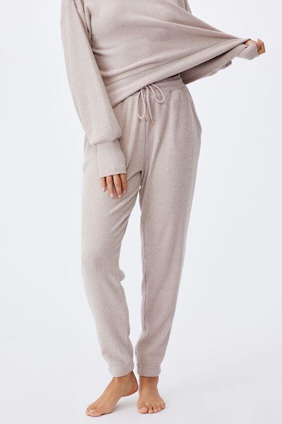 Super Soft Slim Cuff Pant, MUSHROOM MARLE RIB