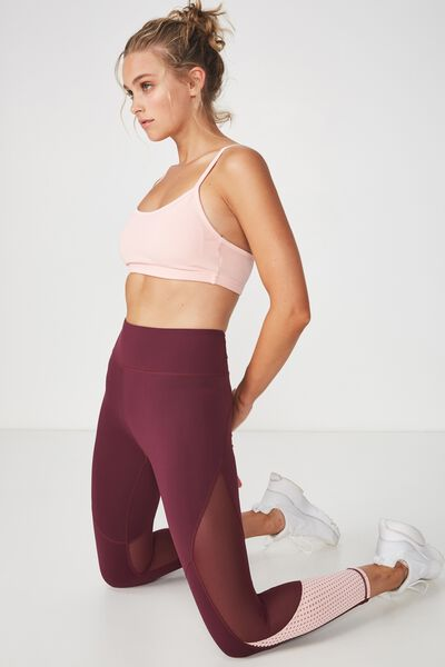 Movement Mesh Panelled 7/8 Tight, CRANBERRY