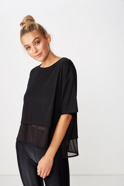 Layered Rib Tshirt, BLACK