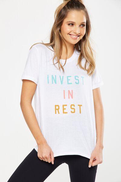 Slogan T Shirt, WHITE/INVEST IN REST