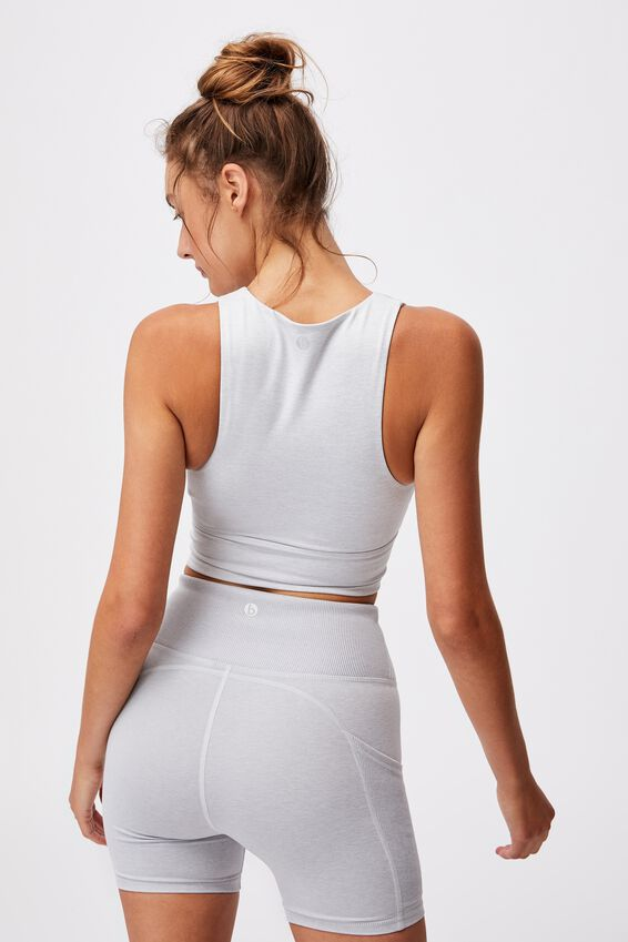 So Peachy Twist Front Vestlette, GREY MARLE